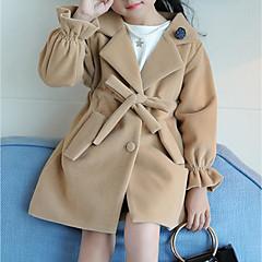 tanie Odzież dla dziewczynek-Dzieci Dla dziewczynek Solidne kolory Długi rękaw Kurtka / płaszcz