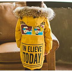 tanie Odzież dla dziewczynek-Dzieci Dla dziewczynek Podstawowy / Moda miejska Codzienny / Wyjściowe Nadruk Futrzane wykończenie / Nadruk Długi rękaw Długie Poliester Odzież puchowa / pikowana Czarny