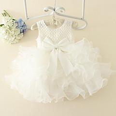 billige Babytøj-Baby Pige Basale Ensfarvet Uden ærmer Bomuld Kjole Lyserød