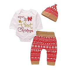 billige Babytøj-Baby Pige Aktiv / Basale Jul / Daglig / Ferie Trykt mønster Langærmet Lang Bomuld / Polyester Tøjsæt Hvid 100