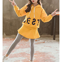 billige Tøjsæt til piger-Børn Pige Geometrisk Langærmet Tøjsæt