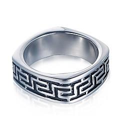 billige Motering-Par Vintage Stil Elegant Band Ring - Titanium Stål, rustfritt Kreativ Stilfull, Geometrisk, Vintage 8 / 9 / 10 / 11 Svart Til Daglig Gate