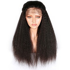 billiga Peruker och hårförlängning-Äkta hår Spetsfront Peruk Brasilianskt hår Burmesiskt hår Yaki Rakt Peruk 130% Hårtäthet Dam Enkel på- och avklädning Bästa kvalitet Naturlig Dam Lång Äkta peruker med hätta