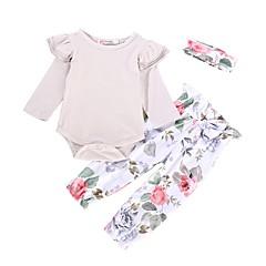 billige Babytøj-Baby Pige Ensfarvet / Jacquard Vævning Langærmet Tøjsæt