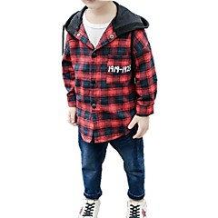billige Overdele til drenge-Børn / Baby Drenge Trykt mønster / Ternet Langærmet Skjorte