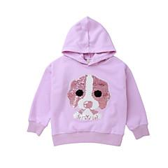 billige Hættetrøjer og sweatshirts til piger-Børn Pige Aktiv Trykt mønster Langærmet Normal Bomuld / Polyester Hættetrøje og sweatshirt Sort