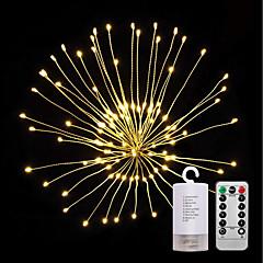 billiga Dekorativ belysning-ZDM® 0,2 Ljusuppsättningar 120 lysdioder SMD 0603 1 13Kör fjärrkontrollen Varmvit Vattentät / Ny Design / Dekorativ AA Batterier Drivs 1set / IP65
