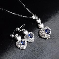 baratos Conjuntos de Bijuteria-Mulheres Azul Zircônia Cubica Clássico Conjunto de jóias - Prata Chapeada Coração Estiloso, Simples, Pingente Incluir Brincos Compridos Colares com Pendentes Prata Para Presente Para Noite