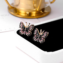 Χαμηλού Κόστους Μοδάτα Σκουλαρίκια-Γυναικεία Cubic Zirconia Ρετρό Κουμπωτά Σκουλαρίκια - Πεταλούδα Μοντέρνο, Γλυκός, χαριτωμένο στυλ Ροζ Για Εξόδου Γενέθλια