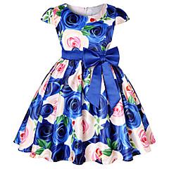 baratos Roupas de Meninas-Infantil / Bébé Para Meninas Floral / Estampa Colorida Manga Curta Vestido