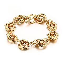 cheap Men's Bracelets-Men's Link / Chain Chain Bracelet - 18K Gold Plated, Titanium Steel Statement, European Bracelet Jewelry Gold For Wedding Masquerade Engagement Party Prom Street
