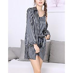 billige Moteundertøy-Dame Skjortekrage Dress Pyjamas - Stripet