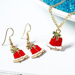 baratos Conjuntos de Bijuteria-Mulheres Link cubano Conjunto de jóias - Pingente, Doce, Estilo bonito Incluir Brincos Compridos Colares com Pendentes Vermelho Para Natal Presente