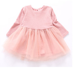 billige Babytøj-Baby Pige Ensfarvet Langærmet Kjole