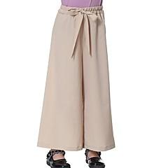 billige Bukser og leggings til piger-Børn Pige Boheme Daglig Ensfarvet Sløjfer Polyester Bukser Lyserød 140