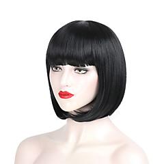 billiga Peruker och hårförlängning-Syntetiska peruker Rak Bob-frisyr Syntetiskt hår 12/200 tum Party / Lätt att bära / Dam Svart / Rosa Peruk Dam Korta hälften Capless Rosa