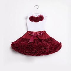 billige Tøjsæt til piger-Børn / Baby Pige Aktiv / Boheme Fest / Fødselsdag Ensfarvet / Blomstret Lag-på-lag / Drapering Uden ærmer Normal Bomuld / Nylon Tøjsæt Vin