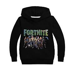 billige Hættetrøjer og sweatshirts til piger-Børn Drenge Aktiv Trykt mønster Langærmet Bomuld Hættetrøje og sweatshirt