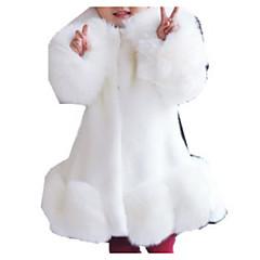 billige Jakker og frakker til piger-Børn Pige Basale Ensfarvet Langærmet Imiteret pels Jakkesæt og blazer Sort