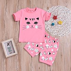 billige Tøjsæt til drenge-Børn / Baby Drenge Kat Trykt mønster Kortærmet Tøjsæt