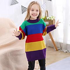billige Sweaters og cardigans til piger-Børn Pige Regnbue Langærmet Trøje og cardigan