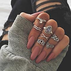 billige Motering-Dame Retro Knokering Ring Set Multi-fingerring - Dråpe, Lotus, Clover Vintage, Bohem, Oversized 7 Gull / Sølv Til Gave Daglig Gate / 7pcs