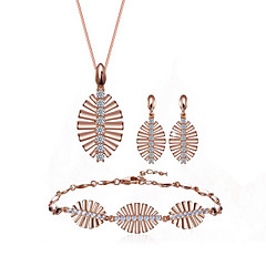 cheap Jewelry Sets-Women's Cubic Zirconia Classic Jewelry Set - Platinum Plated, S925 Sterling Silver Leaf Ladies, Stylish, European, Elegant Include Chain Bracelet Drop Earrings Pendant Necklace Champagne For Gift