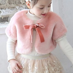 billige Jakker og frakker til piger-Børn / Baby Pige Basale Ensfarvet Uden ærmer Imiteret pels Vest Sort 110
