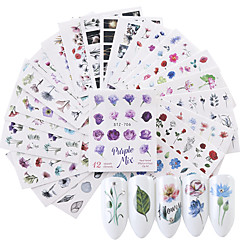 billige Negleklistremerker-24 pcs 3D Negle Stickers Vannoverføringsklistre Blomst Neglekunst Manikyr pedikyr Økovennlig / Multifunksjon Mote Daglig