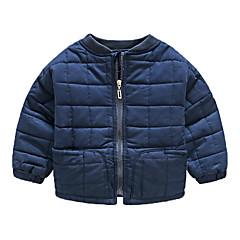 billige Overdele til drenge-Baby Drenge Basale Daglig Ensfarvet Langærmet Bomuld Bluse Navyblå 100