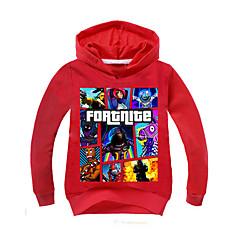 billige Hættetrøjer og sweatshirts til drenge-Børn Drenge Basale Geometrisk Langærmet Hættetrøje og sweatshirt