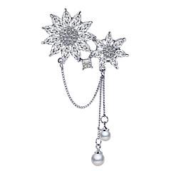 billige Motebrosjer-Dame Kubisk Zirkonium Nåler - Perle, Sølvplett, Østerrisk krystall Snøfnugg damer, Koreansk Brosje Smykker Sølv Til Daglig / Cosplay Kostumer