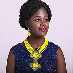 baratos Conjuntos de Bijuteria-Mulheres Camadas Conjunto de jóias - Fashion Incluir Strands Necklace Verde / Rosa / Champanhe Para Diário