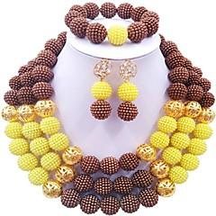 baratos Conjuntos de Bijuteria-Mulheres Camadas Conjunto de jóias - Fashion Incluir Strands Necklace Marron / Rosa claro / Rosa Para Festival
