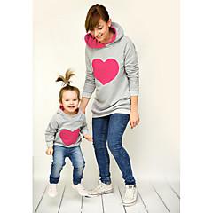 billige Sett med familieklær-Mamma og meg Grunnleggende Daglig Geometrisk Langermet Polyester Hettegenser og sweatshirt Grønn Jenter 110