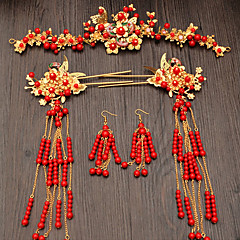 Women's Red Vintage Style Jewelry Set Gold Gypsophila Ethnic Include Hair Sticks Red For Wedding Party