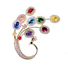 billige Motebrosjer-Dame Kubisk Zirkonium Klassisk Nåler - Gullbelagt, Østerrisk krystall Påfugl damer, Koreansk Brosje Smykker Gull Til Gate