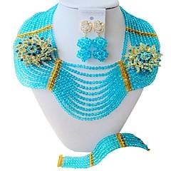 baratos Conjuntos de Bijuteria-Mulheres Camadas Conjunto de jóias - Fashion Incluir Strands Necklace Azul / Rosa / Champanhe Para Festa