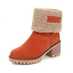 56a4797dfa3 Women s Faux Leather Fall   Winter Boots Chunky Heel Round Toe Booties   Ankle  Boots Orange   Green   Camel