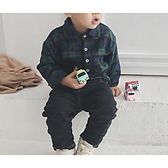 billige Overdele til drenge-Børn / Baby Drenge Basale Ensfarvet Langærmet Normal Polyester Bluse Army Grøn 100