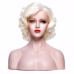 cheap Wigs & Hair Pieces-Synthetic Lace Front Wig Women's Curly / Curly Weave White Layered Haircut / Deep Parting / with Baby Hair 150% Density Synthetic Hair 12 inch Cosplay / Party / Women White Wig Short Glueless Lace