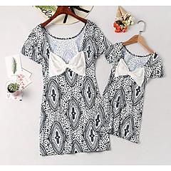 billige Sett med familieklær-Mamma og meg Grunnleggende Daglig Blomstret Kortermet Polyester Kjole Navyblå