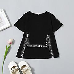 billige Babyoverdele-Baby Pige Basale / Gade Daglig / Ferie Trykt mønster Kortærmet Normal Bomuld / Spandex T-shirt Sort