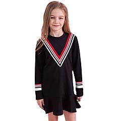 tanie Odzież dla dziewczynek-Dzieci Dla dziewczynek Czarno-czerwony Solidne kolory Długi rękaw Sukienka