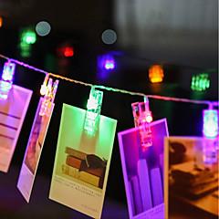 billiga Dekorativ belysning-zdm 4m 40 st ledd foto stränglampor 40 fotoklip batteridriven eller usb gränssnitt fe blinka lysande bilder kort och konstverk varm vit dc5v