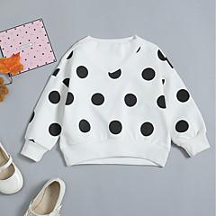 billige Hættetrøjer og sweatshirts til babyer-Baby Pige Basale / Gade Daglig / Ferie Sort og hvid Prikker Langærmet Normal Bomuld Hættetrøje og sweatshirt Hvid
