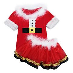 billige Tøjsæt til piger-Børn Pige Gade Jul Ensfarvet Kortærmet Kort Polyester Tøjsæt Rød 100