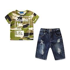billige Tøjsæt til drenge-Børn / Baby Drenge Aktiv / Basale Daglig / Sport Trykt mønster Hul / Ribbet / Trykt mønster Kortærmet Normal Bomuld / Polyester / Spandex Tøjsæt Army Grøn