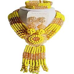 baratos Conjuntos de Bijuteria-Mulheres Camadas Conjunto de jóias - Flor Fashion Incluir Strands Necklace Vermelho / Verde / Rosa Para Casamento