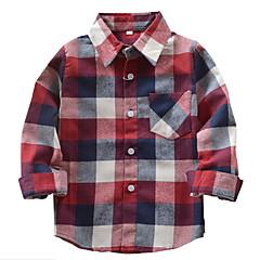 tanie Odzież dla chłopców-Dzieci Dla chłopców Podstawowy Pepitka Długi rękaw Bawełna Koszula Czerwony 140